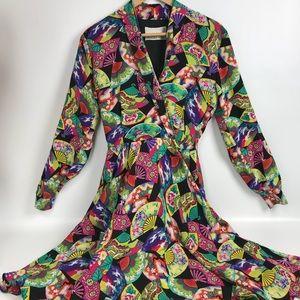 Dana Buchman Dress Japanese fan 100% Silk size